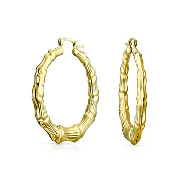 Light Weight Big Bamboo Hoop Earrings 18k Gold Plated Dia 2 Inch