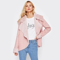 The Gabby Pink Faux Shearling Jacket
