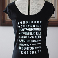 Pride and Prejudice Locations Typography t shirt- S. M. L. XL  - Jane Austen