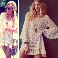 Vintage Hippie Boho Bell Sleeves Gypsy Festival Fringe Lace Mini Dress Tops V-0