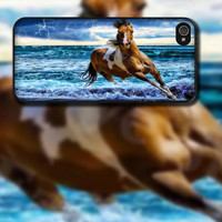 Horse in Storm Design on Black Rubber iPhone 4 / 4s or iPhone 5 / 5s / 5c Case