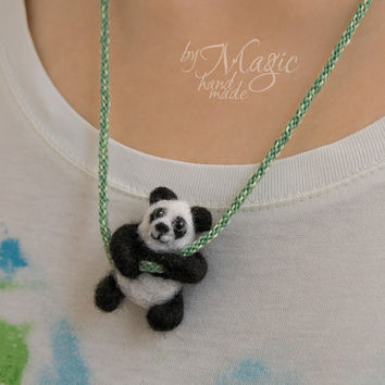 Felted panda on braided necklace, kumihimo, needle felted animal, black and white, summer gift, small creature, wool toy