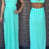 Green V-Neck Sleeveless Backless Chiffon Dress