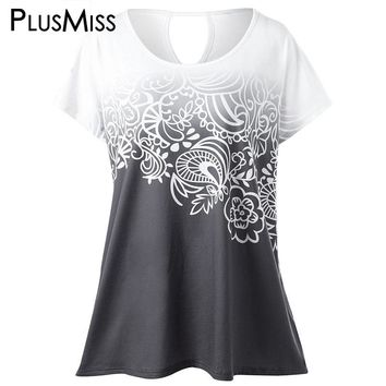Plus Size Floral Ombre Tie Dye T-Shirt Women Summer 2017 Short Sleeve Casual Oversized Tops Ladies Big Size Tee Shirt White