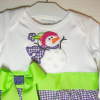 Purple Houndstooth Layette with Snowman Applique