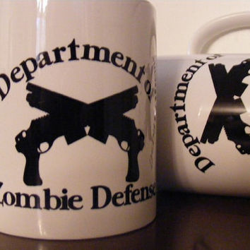 Zombie Coffee Mugs Set Department of Zombie Defense by Mugsleys