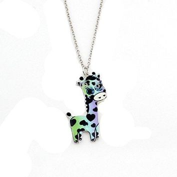 Adorable Girls Pok-a Dot Girls Giraffe Necklaces (blue, Green , Silver)