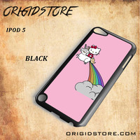 HELLO KITTY UNICORN Snap on 2D Black and White Or 3D Suitable With Image For Ipod Touch 5 Case
