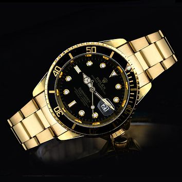 Rolex tide brand fashion men and women fashion watches F-SBHY-WSL Gold + Black Case + Black Dial