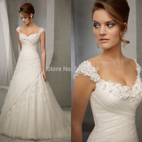 New Style Sweetheart with Cap Sleeve and Crystal Beading Ruched Organza A-line Wedding Dresses 2015 Appliques