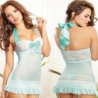 Cute Hot Deal On Sale Sexy Blue Lace Spaghetti Strap Dress Plus Size Exotic Lingerie [6595882115]
