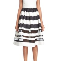 Alice + Olivia 'Larue' Illusion Stripe Fit & Flare Dress | Nordstrom