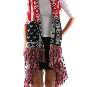 Mulit Color Stars And Stripes Vest Poncho Scarf