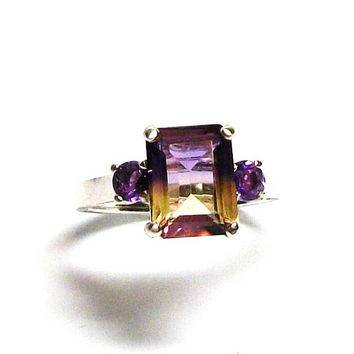 "Ametrine, ametrine accent ring, emerald cut ring,  3 stone ring, purple yellow, anniversary wedding, s 6 1/2   ""French Purple"""