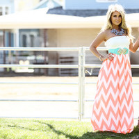Neon Coral Chevron Dress