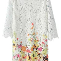 ROMWE Lace Floral Print Half Sleeves Yellow Dress