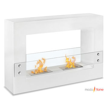 Alcoi Contemporary Indoor Outdoor Ethanol Fireplace White