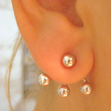 925 Sterling Silver Ear Jacket Ball Earring - You will receive  a pair -  Free Shipping