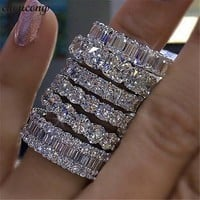 choucong Handmade Finger ring 925 sterling Silver AAAAA Zircon Sona cz Engagement Wedding Band Rings For Women men Jewelry