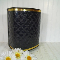 Retro Black Patent Leather Upholstered Metal Waste Can - Vintage Detecto Ebony Vanity Bin - Trash Basket to Fit Flat Against a Surface