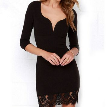 Black V-Neck Lace Patchwork Sleeve Dress