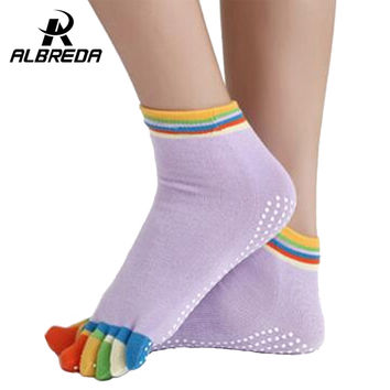 RODEX Sports Colorful Yoga Socks Fitness  Pilates socks  women Toe Five Fingers Cotton Socks Free shopping