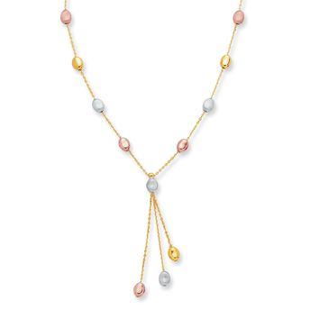 14K Yellow-White-Rose Gold Shiny Cable Chain Link with Tri-Color Pebble Fancy Necklace with Lobster Clasp
