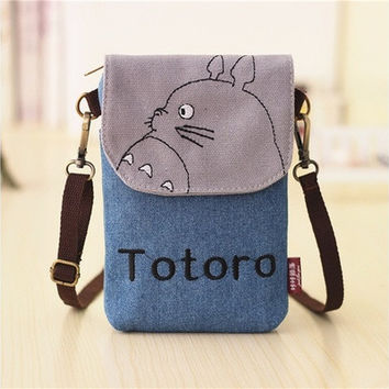 Fashion Women My Neighbor Totoro Canvas Wallet Bag Cute Coin Purse Cell Phone Case Mobile Mini Cross-body Shoulder Bag Gifts 9 Colors [8323382337]