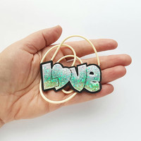Love cute necklace pendant  sparkly glitter resin charm fashion polymer clay hand made gift funny humor for kids her birthday