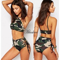 High Waist  Camouflage  Brazilian Swim suit Bikinis Set