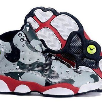 PEAPVX Jacklish Girls Air Jordan 13 Gs Desert Camo Custom Black Grey Red For Sale