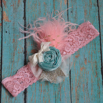 Light Coral and Mint shabby chic headband - girls headband-silk headband-fancy headband- photo prop- wedding- formals- newborn- all ages