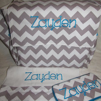 SHIPS FREE custom handmade chevron aqua messenger flap diaper bag set with burp and travel wipe case you choose color and name