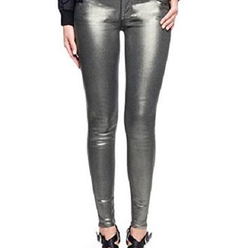 True Religion Women's Gunmetal Coated Skinny Jeans