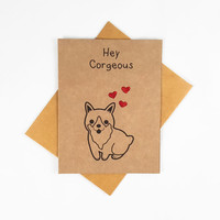 Corgi, Funny Card, Funny Greeting Card, Greeting Cards, Pun Card, Cute Card, kawaii