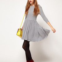 ASOS PETITE Exclusive Skater Dress In Geo Print