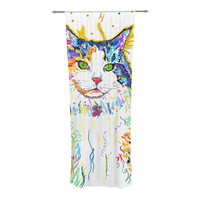 "Rebecca Fischer ""Royal"" Rainbow Cat Decorative Sheer Curtains"