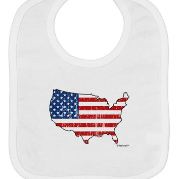 United States Cutout - American Flag Distressed Baby Bib by TooLoud