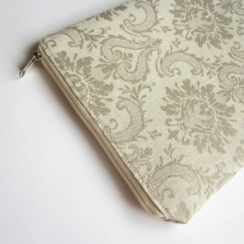Linen damask MacBook Air 11 sleeve with zipper, MacBook Air 11 case, MacBook Air 11 Cover, Laptop Sleeve Case, MacBook Air case