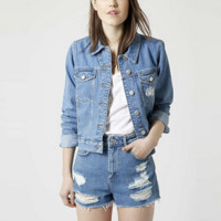 Blue Denim Ripped Button Jacket