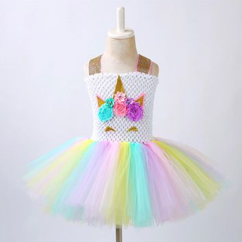 Flower Girls Unicorn Tutu Dress Pastel Rainbow Princess Girls gown Birthday Party Dress Children Kids Halloween Unicorn Costume