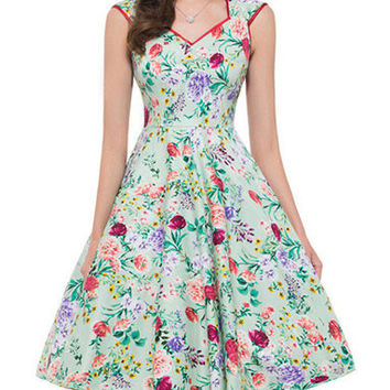 Vintage Style 50S Sleeveless Flowers Printed Midi Swing Inspired Audrey Hepburn Dress