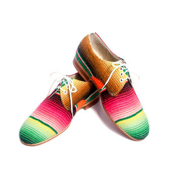 mexican blanket ( zarape ) oxford derby shoes - FREE WORLDWIDE SHIPPING