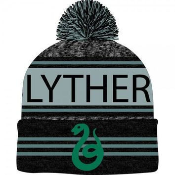 Harry Potter Black & Green Teal Marled Pom Beanie