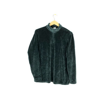 90s green velour quarter zip top - vintage 1990s ll bean - velvet turtleneck - long sleeve shirt