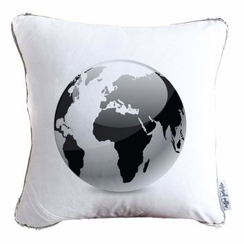 Black & White Globe Decorative Throw Pillow w/ Silver & White Reversible Sequins - COVER ONLY (Inserts Sold Separately)