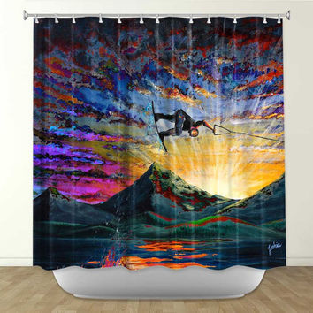 Colorful Wakeboarder - Shower Curtain - Night Ride - Artwork by Teshia
