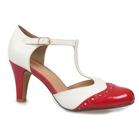 Red & White Gatsby T-Strap Pumps