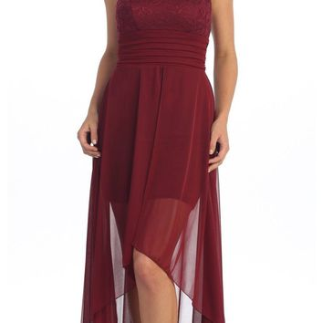 Bridesmaid Party High Low Burgundy Sequins Dress Chiffon Overlay