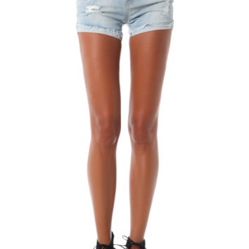 Distressed Denim Short with Turned Up Hem